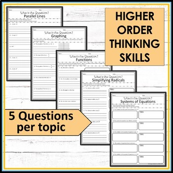 8th Grade Math Higher Order Thinking Skills Activity - What's the Question