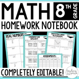 8th Grade Math Homework - A Full Year of Editable Homework