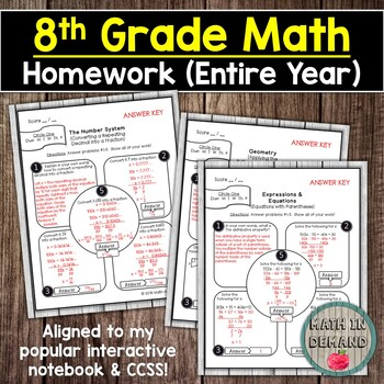 8th Grade Math Homework (Entire Year)