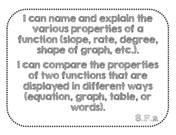 """8th Grade Math """"I Can"""" Statement Posters for Common Core Standards"""