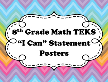 "8th Grade Math ""I Can"" Statements"