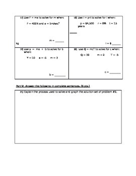 8th Grade Math Inequality and Literal Equation Test