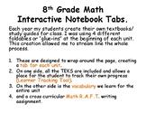 8th Grade Math Interactive Notebook Tabs.