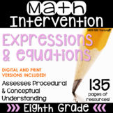 8th Grade Math Intervention Pack Expressions and Equations RTI Math Resources