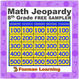 8th Grade Math Jeopardy Common Core Review Game FREE SAMPLER