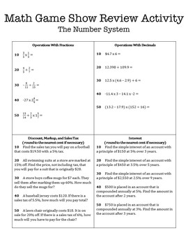 8th Grade Math Game Show Review Activity: The Number System