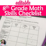 """8th Grade Math Learning Targets """"I can"""" Checklists for students"""