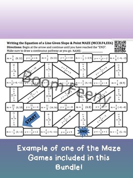 8th Grade Math Maze Game Bundle