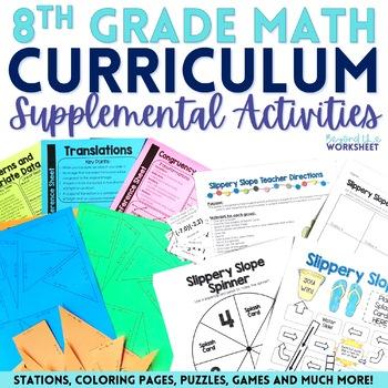 8th Grade Math Activities Bundle : Supplemental Curriculum Resources