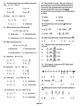 8th Grade Math Mid Term