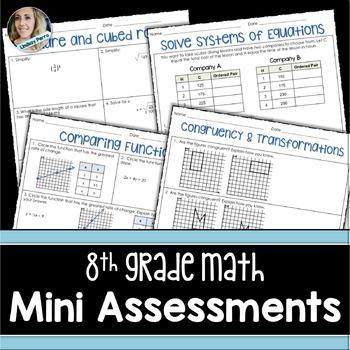 8th Grade Math Mini Assessments