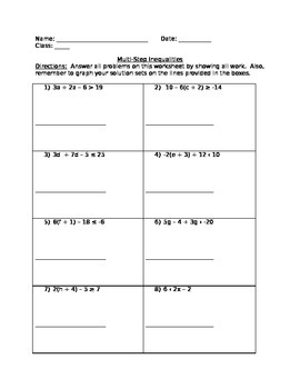 8th grade math multi step inequalities worksheet by l anne tpt. Black Bedroom Furniture Sets. Home Design Ideas