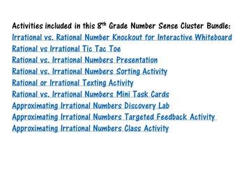 8th Grade Math Number Sense Activity Bundle
