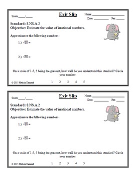8th Grade Math Number Sense Exit Slips