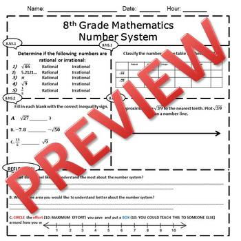 8th Grade Math Number System Assessment/Exam/Test/Review {EDITABLE}