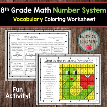8th Grade Math Number System Vocabulary Coloring Worksheet By Math