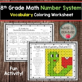 8th Grade Math Number System Vocabulary Coloring Worksheet