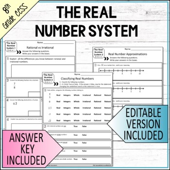 Number Systems Mini Assessments  8th Grade Math Common Core