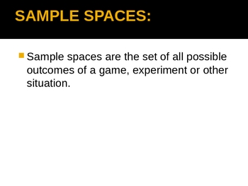 8th Grade Math PPT Presentation - Sample Spaces