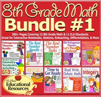 8th Grade Math - Bundle #1 - Activities for Interactive No