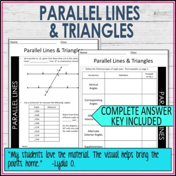 Parallel lines with Transversals and Triangles Guided Notes