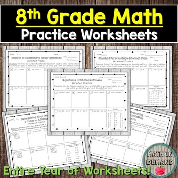 8th Grade Math Practice Worksheets (Entire Year of Worksheets) DISTANCE LEARNING