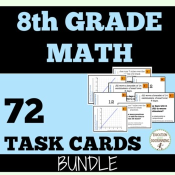 8th Grade Math Task Card Activity Bundle For Pre-Algebra