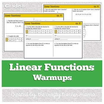 8th Grade Math (Pre-Algebra): Linear Functions Warmups (Common Core Standards)