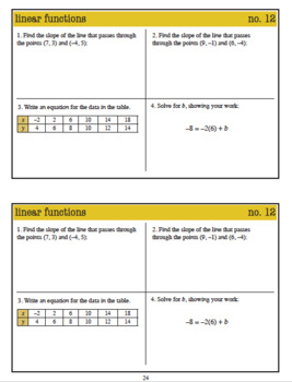 Warmups: Linear Functions: 8th Grade Math (Common Core Standards)