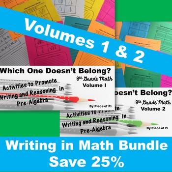 8th Grade Math Pre Algebra Writing Activities BUNDLE