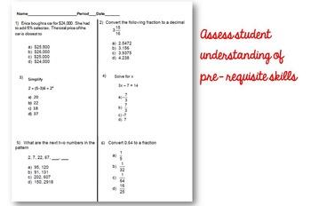 8th Grade Math Pre- Test