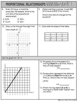 8th Grade Math Proportional Relationships Assessment Plan Go Math