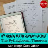 8th Grade Math Pythagorean Theorem Word Problems Review Pa