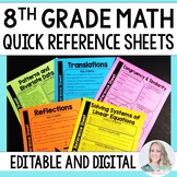 8th Grade Math Quick Reference Sheets - Great for Distance