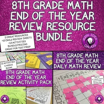 8th Grade Math Review Resource Bundle