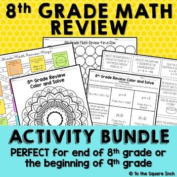 8th Grade Math Review Activities