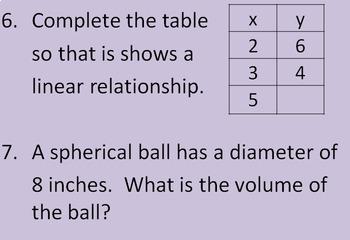 8th Grade Math Review Bingo Game
