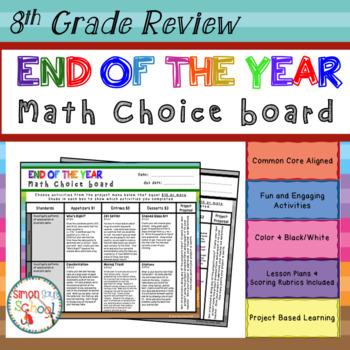 8th Grade Math Review Choice Board - End of the Year Math Menu