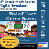 8th Grade Math End of Year Review Digital Breakout for Goo