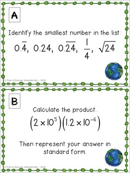8th Grade Math Review - Earth Day Theme