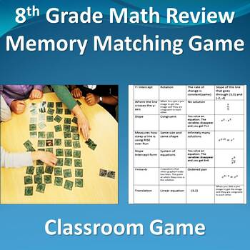 8th Grade Math Review Memory Matching Game