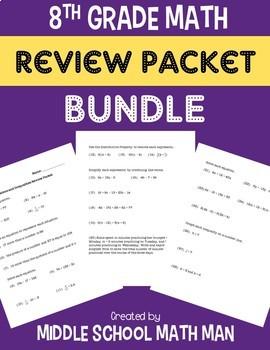 8th Grade Math Review Packet Bundle