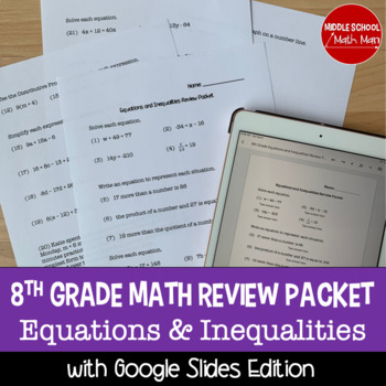 8th Grade Math Review Packet - Equations and Inequalities