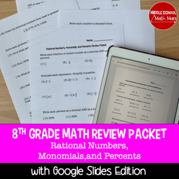 8th Grade Math Review Packet - Rational Numbers, Monomials, and Percents