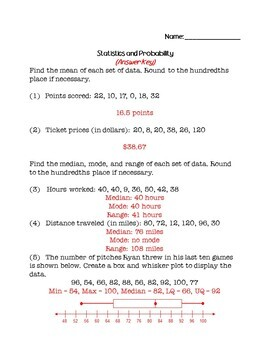 8th Grade Math Review Packet - Statistics and Probability