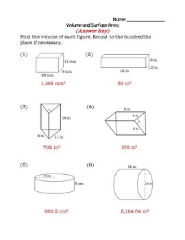8th Grade Math Review Packet - Volume and Surface Area
