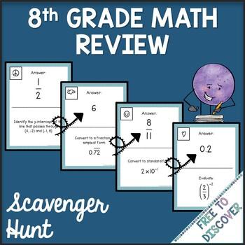 8th Grade Math Review Scavenger Hunt