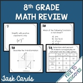 8th Grade Math Review Task Cards