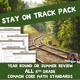 8th Grade Math Review Test Prep ALL Standards Summer End of Course Review