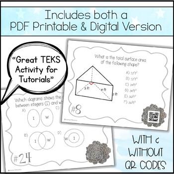 8th Grade Math STAAR Prep - Task Cards